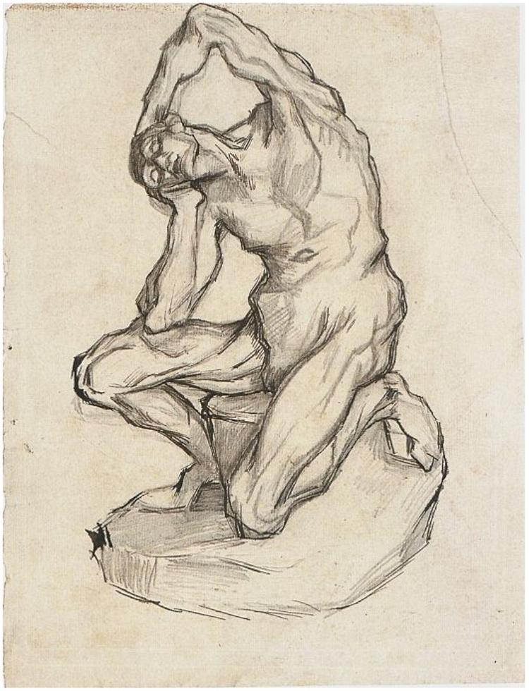 Kneeling-Écorché by Van Gogh