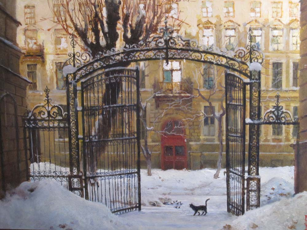 Winter Courtyard in St Petersburg by Lidia Diener